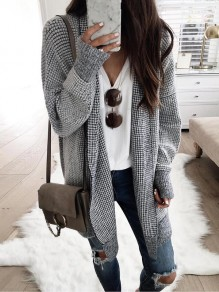 Black Plaid Print Band Collar Long Sleeve Casual Fashion Check Borg Cardigan Coat