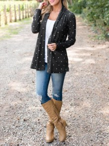 Black Polka Dot Draped No Buttons Long Sleeve Casual Coat
