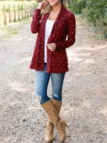 Wine Red Polka Dot Draped No Buttons Long Sleeve Casual Coat