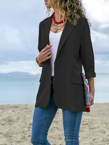 Black Pockets Turndown Collar Long Sleeve Fashion Coat