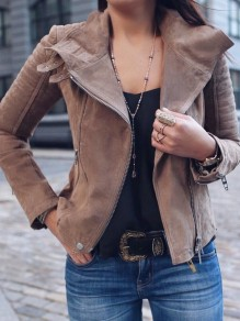 Brown Zipper Pockets Buttons Turndown Collar Long Sleeve Casual Coat