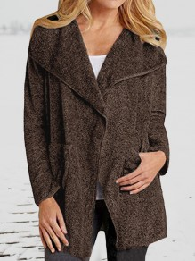 Brown Pockets Turndown Collar Long Sleeve Oversize Coat