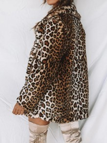 Brown Leopard Print Plus Size Tailored Collar Fashion Casual Thick Coat