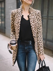 Khaki Leopard Print Band Collar Long Sleeve Fashion Coat