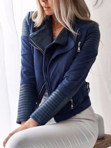 Blue Patchwork Zipper Turndown Collar Fashion Coat
