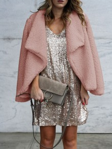 Pink Turndown Collar Long Sleeve Fashion Going out Cardigan Coat