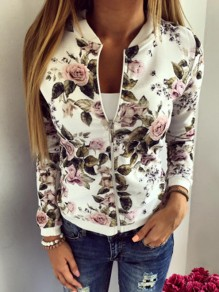 White Floral Zipper Round Neck Long Sleeve Casual Coat