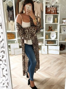 Yellow Leopard Long Sleeve Casual Going out Sweet Outerwear
