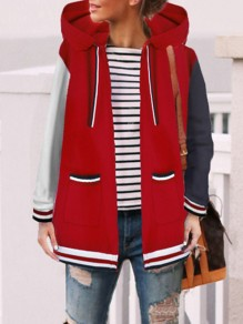Red Pockets Drawstring Patchwork Long Sleeve Casual Coat