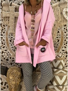 Pink Pockets Hooded Long Sleeve Fashion Cardigan Coat