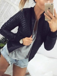 Black Zipper Long Sleeve Fashion Casual Coat