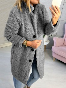 Grey Buttons Turndown Collar Long Sleeve Oversize Teddy Coat