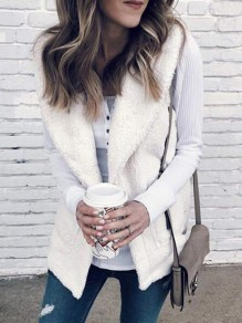 White Print Pockets Band Collar Teddy Casual Vest Coat