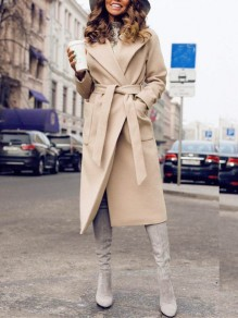 Khaki Pockets Sashes Turndown Collar Long Sleeve Going out Wool Coat