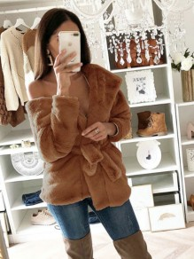 Brown Sashes Bow Long Sleeve Casual Sweet Going out Cardigan Coat