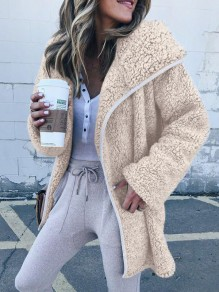 Apricot Pockets Hooded Long Sleeve Teddy Lambswool Fur Fluffy Casual Outerwear