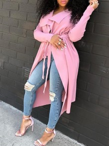 Pink Belt Turndown Collar Irregular Waterfall Low-High Long Sleeve Casual Trench Coat