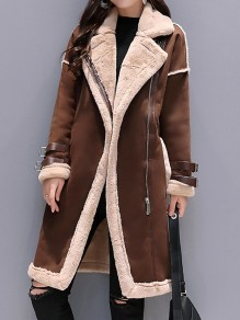 Brown Patchwork Pockets Fur Zipper Turndown Collar Long Sleeve Casual Coat