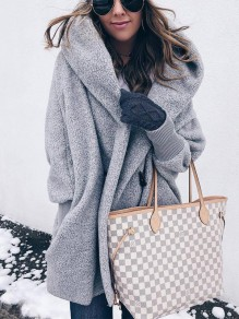 Grey Buttons Hooded Long Sleeve Fashion Outerwear