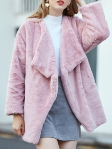 Pink Faux Fur Pockets Turndown Collar Long Sleeve Oversize Coat