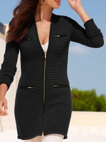 Black Striped Pockets Zipper Band Collar Long Sleeve Casual Outerwear