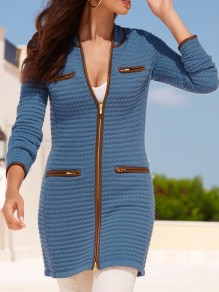 Blue Striped Pockets Zipper Band Collar Long Sleeve Casual Outerwear