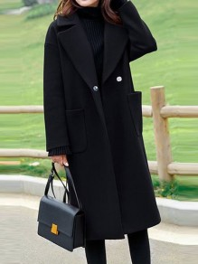 Black Pockets Single Button Turndown Collar Long Sleeve Elegant Coat