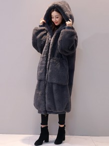 Dark Grey Fur Pockets Zipper Hooded Long Sleeve Casual Coat