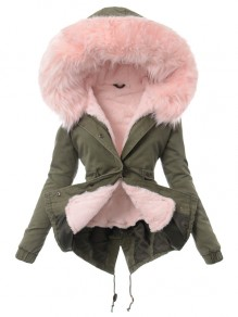 Army Green Pink Patchwork Drawstring Buttons Hooded Casual Outerwear
