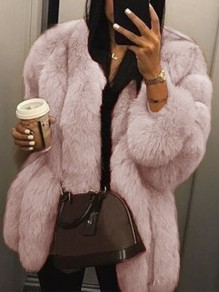 Pink Warm Thick Faux Fur Long Sleeve Fashion Outerwear Cute Bubble Coat