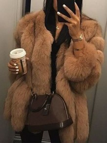 Brown Faux Fur Collarless Long Sleeve Bubble Fur Coat Outerwear Teddy Coat