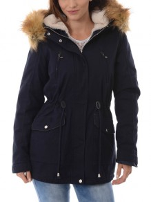 Dark Blue Patchwork Fur Pockets Drawstring Single Breasted Zipper Hooded Long Sleeve Casual Coat