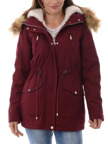 Wine Red Patchwork Fur Pockets Drawstring Single Breasted Zipper Hooded Long Sleeve Casual Coat
