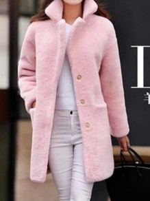 Pink Pockets Band Collar Long Sleeve Going out Faux Fur Coat