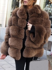 Brown Fuzzy Faux Rabbit Fur Bubble Fur Long Sleeve Outerwear Teddy Coat