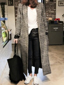 Grey Plaid Print Pockets Turndown Collar Long Sleeve Fashion Coat