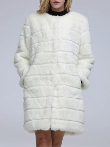 White Faux Fur Buttons Pockets Collarless Fashion Outerwear