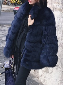 Navy Blue Faux Fur Pockets Turndown Collar Fashion Outerwear