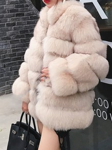 Beige Faux Fur Pockets Turndown Collar Fashion Outerwear