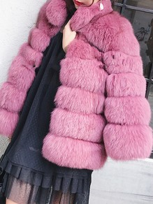 Rubber Red Fuzzy Faux Fur Pockets Turndown Collar Fashion Bubble Outerwear