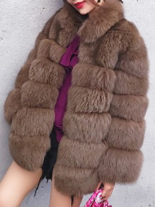 Dark Camel Faux Fur Pockets Turndown Collar Fashion Outerwear