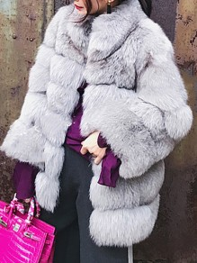 Grey Faux Fur Pockets Turndown Collar Bubble Fashion Outerwear