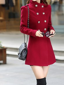 Red Pockets Double Breasted Peacoat Peplum High Neck Long Sleeve Fashion Wool Coat Outerwear