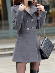 Grey Pockets Buttons Studded Double Breasted Band Collar Long Sleeve Elegant Coat