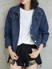 Blue Patchwork Buttons Turndown Collar Fashion Jeans Outerwear