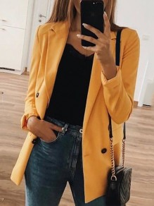 Yellow Pockets Double Breasted Tailored Collar Long Sleeve Fashion Suit