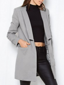 Grey Buttons Pockets Turndown Collar Fashion Blazer