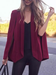 Red Pockets Turndown Collar Fashion Cape Blazer