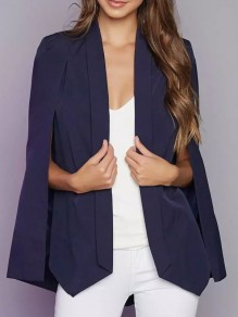 Blue Pockets Turndown Collar Fashion Cape Blazer
