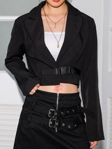Black Patchwork Belt Tailored Collar Long Sleeve Fashion Blazer